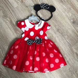 Toddler Minnie Mouse Polka Dot Dress with Headband